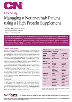 Managing a Neuro-rehab Patient using a High Protein Supplement