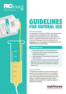 ProSource TF usage guidelines for enteral use