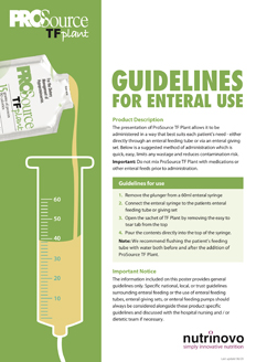 ProSource TF Plant usage guidelines for enteral use