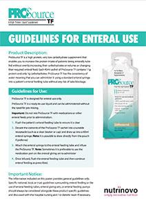 ProSource TF Usage Guidelines – Alternative Method of Administration